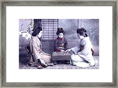 Geisha's Playing Game Framed Print by Unknown