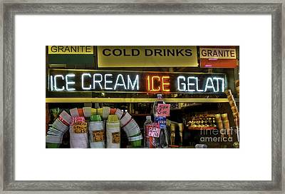 Gelato Icecream Store Framed Print by Debra Chmelina