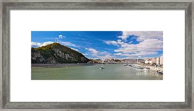 Gellert Hill And Danuber River In Budapest Framed Print