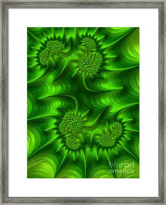 Gemini In Green Framed Print by John Edwards