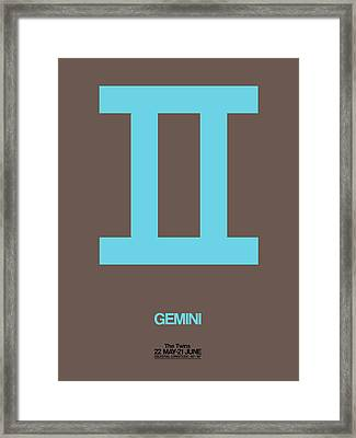 Gemini Zodiac Sign Blue Framed Print