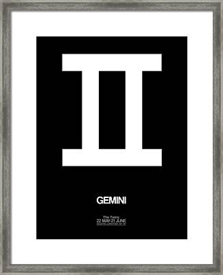 Gemini Zodiac Sign White Framed Print by Naxart Studio