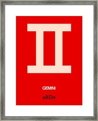 Gemini Zodiac Sign White On Red Framed Print by Naxart Studio
