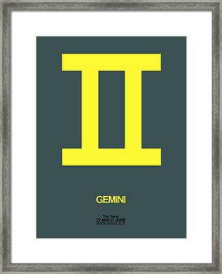 Gemini Zodiac Sign Yellow Framed Print