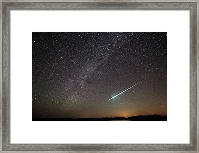 Geminid Meteor In Florida Framed Print by Jean Clark
