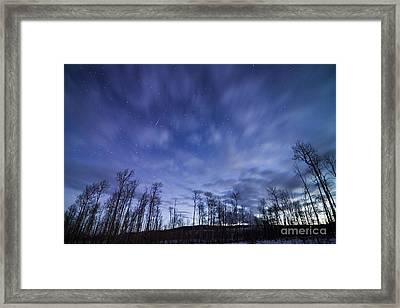 Geminid Meteor Over Jackson Hole Framed Print by Mike Cavaroc
