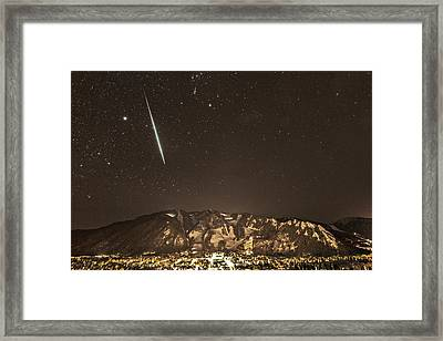 Geminid Meteor Shower Aspen Framed Print by Tom Cuccio