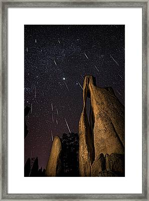 Geminids Over Needles Eye Framed Print by Jason Hatfield