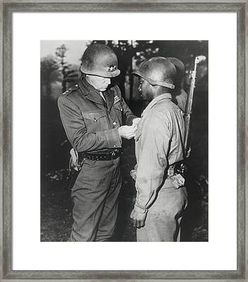 Gen. George Patton, Pins The Silver Framed Print