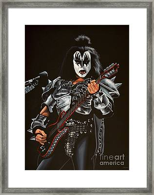 Gene Simmons Of Kiss Framed Print by Paul Meijering