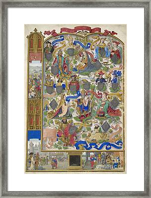 Genealogy Of Kings Of Navarre Framed Print by British Library
