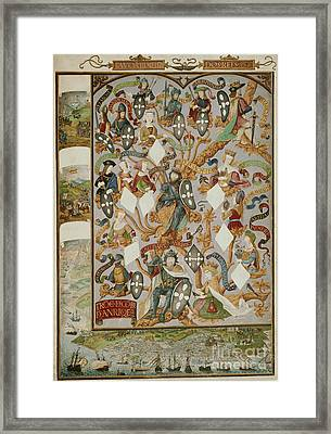 Genealogy Of Kings Of Portugal Framed Print by British Library