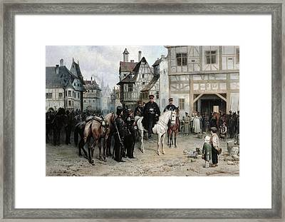 General Blucher 1742-1819 With The Cossacks In Bautzen, 1885 Oil On Canvas Framed Print by Bogdan Willewalde