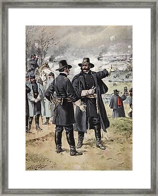 General Burnside At The Battle Framed Print by Henry Alexander Ogden