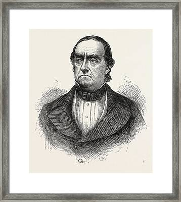 General Cass, Lewis Cass, 1782-1866, American Military Framed Print by English School