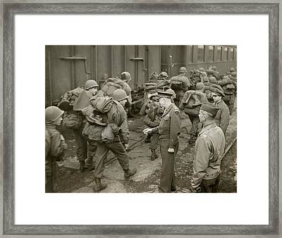 General Dwight Eisenhower Greets Gis Framed Print