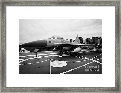 General Dynamics F16 Fighting Falcon On Display On The Flight Deck Of Uss Intrepid Framed Print