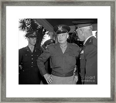 Framed Print featuring the photograph General  Eisenhower 1946 by Martin Konopacki Restoration
