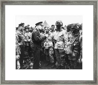 General Eisenhower Encouraging Troops Prior To D-day Invasion Framed Print