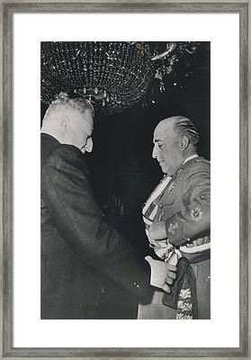General Franco Decorated. Receives Garsnd Of The Omeyas - Framed Print by Retro Images Archive