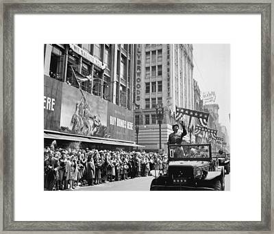 General George Patton Receives Framed Print