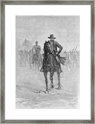 General Grant Reconnoitering The Confederate Position At Spotsylvania Court House, Engraved By C.h Framed Print by American School