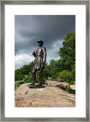 General K Warren Monument Gettysburg Framed Print by James Brunker