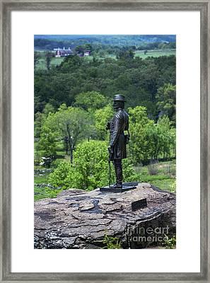 General Kemble Warren At Little Round Top Framed Print by John Greim