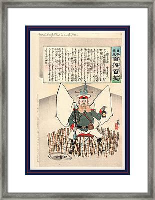 General Kuropatkin In A Safe Place, Kobayashi 1904 Or 1905 Framed Print by Kobayashi, Kiyochika (1847-1915), Japanese