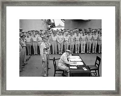 General Macarthur Signing The Japanese Surrender Framed Print