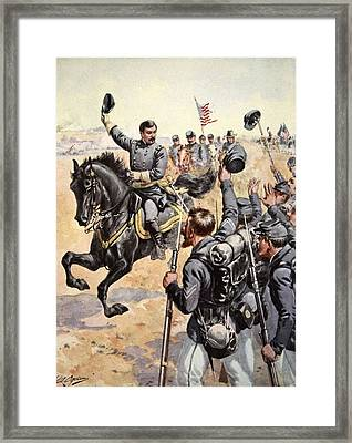 General Mcclellan At The Battle Framed Print
