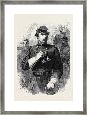 General Mclellan Commander-in-chief Of The Federal Forces Framed Print by English School