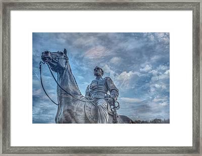 General  Meade Statue At Gettysburg Battlefield Framed Print