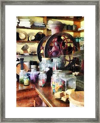 General Store With Candy Jars Framed Print by Susan Savad