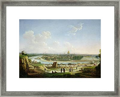 General View Of Paris From The Chaillot Hill, 1818 Oil On Canvas Framed Print by Seyfert