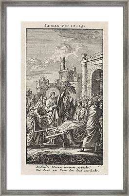 Generation Of The Son Of The Widow Of Nain Framed Print by Jan Luyken And Wed. Pieter Arentsz & Cornelis Van Der Sys (ii)