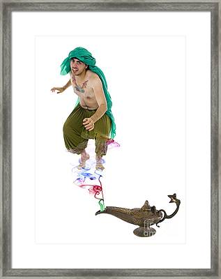 Genie Emerges From A Lantern  Framed Print