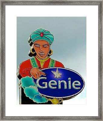 Genie Neon Sign Framed Print by Kristina Deane