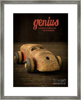 Genius Is Childhood Recalled At Will. Framed Print by Edward Fielding