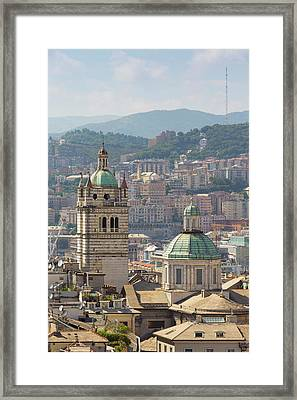 Genoa, Liguria, Italy. Dome And Tower Framed Print