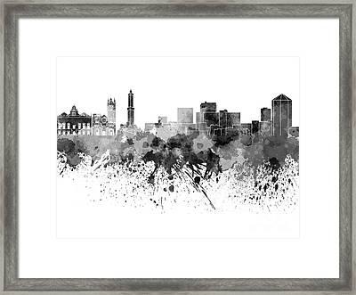 Genoa Skyline In Black Watercolor On White Background Framed Print
