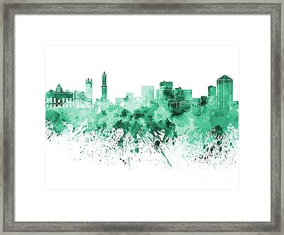 Genoa Skyline In Green Watercolor On White Background Framed Print