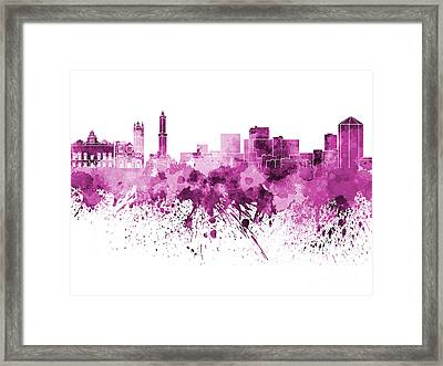 Genoa Skyline In Pink Watercolor On White Background Framed Print