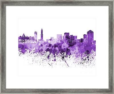 Genoa Skyline In Purple Watercolor On White Background Framed Print