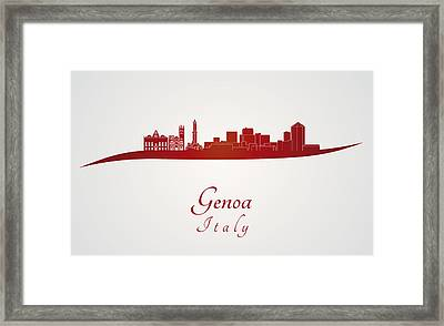 Genoa Skyline In Red Framed Print by Pablo Romero