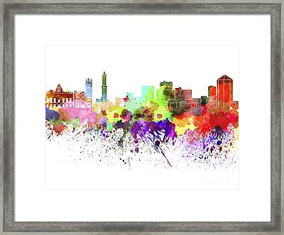 Genoa Skyline In Watercolor On White Background Framed Print
