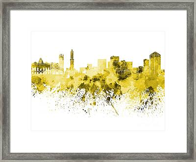 Genoa Skyline In Yellow Watercolor On White Background Framed Print