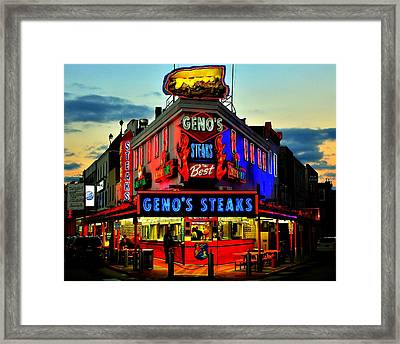 Geno's Steaks Framed Print by Benjamin Yeager