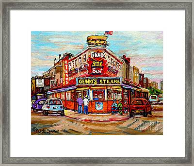 Geno's Steaks Philadelphia Cheesesteak Restaurant South Philly Italian Market Scenes Carole Spandau Framed Print