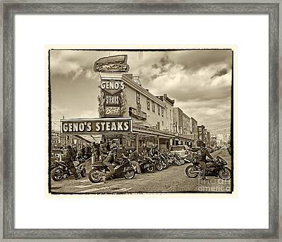 Geno's With Cycles Framed Print by Jack Paolini